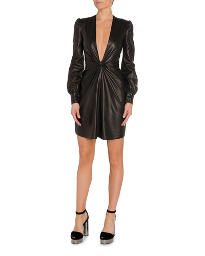 Deep V-Neck Leather Cocktail Dress