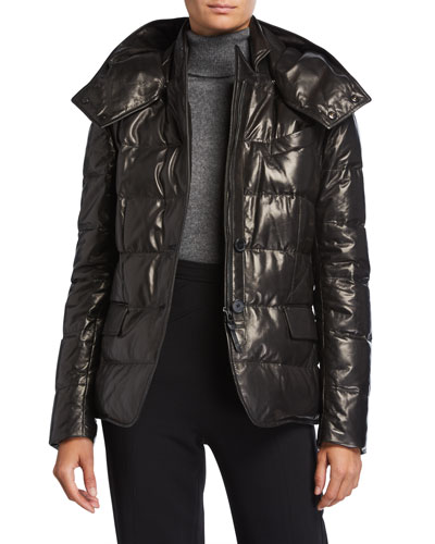 Quilted Leather Puffer Jacket