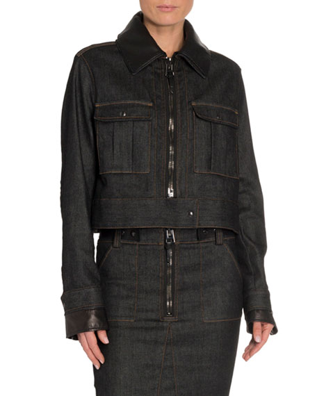 TOM FORD Leather-Trim Denim Aviator Jacket