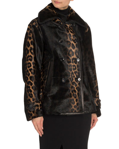 Leopard Calf Hair Double-Breasted Blazer Jacket