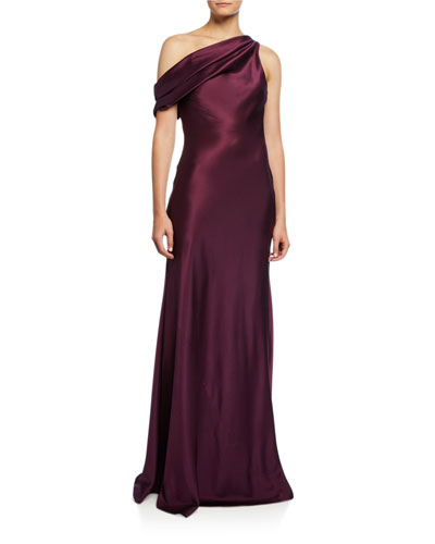 One Shoulder Draped Charmeuse Column Gown