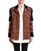 Etro Fringe-Sleeve Brocade Jacket