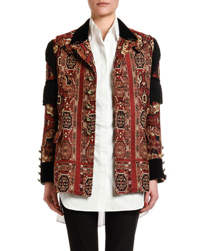 Fringe-Sleeve Brocade Jacket