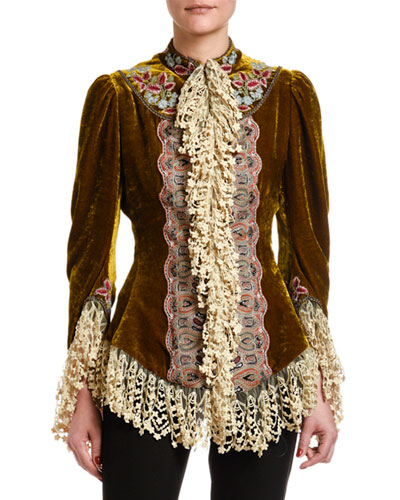 Lace-Trim Velvet Victorian-Embroidered Jacket