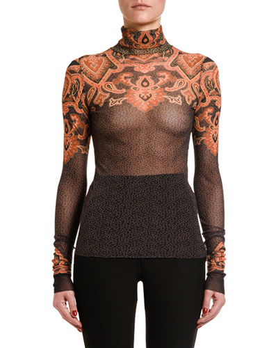 Engineer Paisley-Print Turtleneck Top