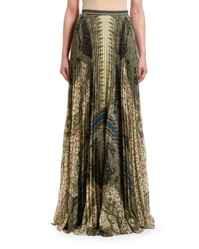 Paisley-Print Pleated Maxi Skirt