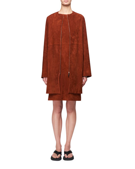 THE ROW Anka Zip-Front Suede Coat