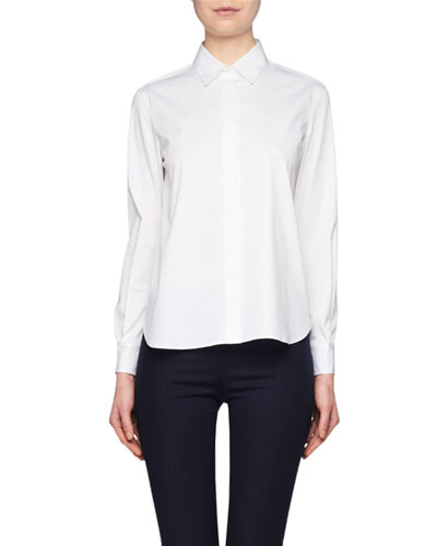Yssetra Slim Button-Front Cotton Shirt