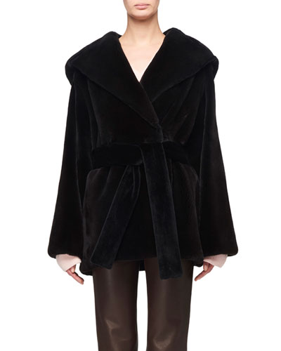 Mink Fur Hooded Wrap Coat