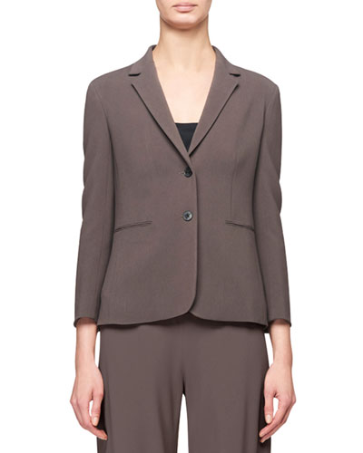 Lobton Bracelet-Sleeve Stretch-Cotton Blazer, Gray