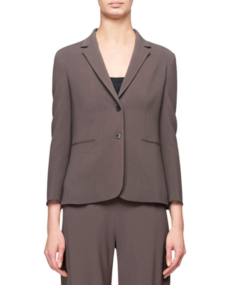 THE ROW Lobton Bracelet-Sleeve Stretch-Cotton Blazer, Gray