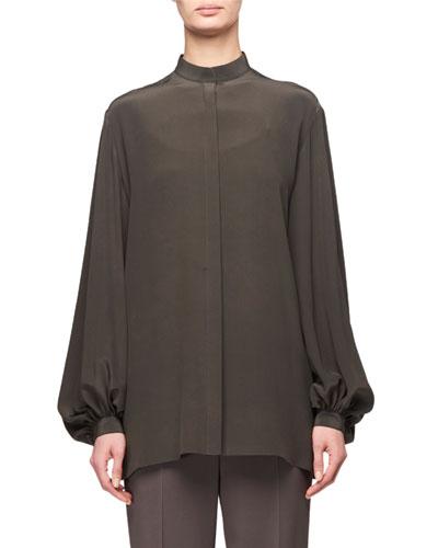 Vara Mock-Neck Poet-Sleeve Silk Blouse