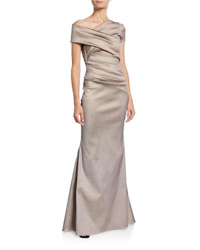 Asymmetric Draped Waist Gown