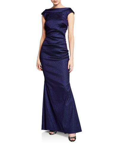 High-Neck V-Back Gown