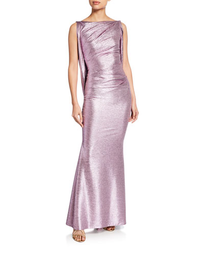 Mirrorball Stretch Draped Back Gown