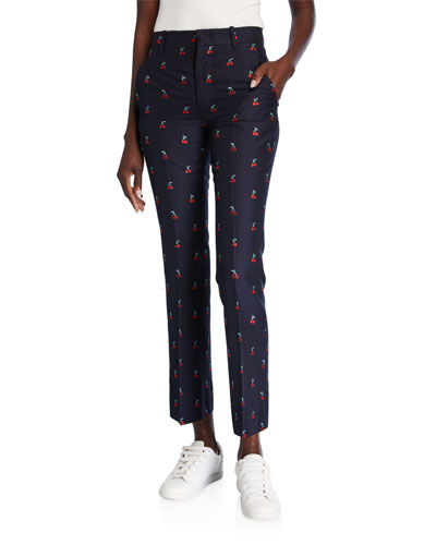 GG Cherry Boot-Cut Cotton/Wool Ankle Pants