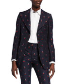 Gucci GG Cherry Cotton/Wool Single-Breasted Jacket