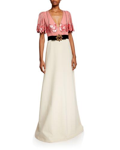 Petal Sleeve Deep V-Neck Gown