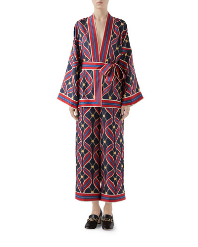 eee785584 Quick Look. Gucci · Interlocking G Ribbon-Print Kimono Top