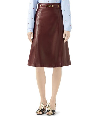 a8fbab5005f0 Quick Look. Gucci · Logo-Belted Plonge Leather Skirt