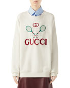Gucci Oversized Embroidered Tennis-Logo Sweatshirt