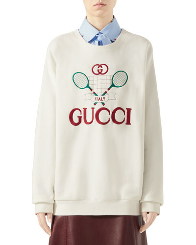 001a8fd74 Quick Look. Gucci · Oversized Embroidered Tennis-Logo Sweatshirt