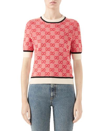 Short-Sleeve Crewneck GG Sweater