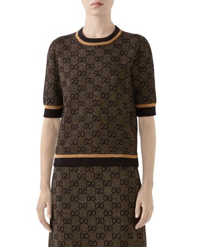 1/2-Sleeve Shimmer GG Wool Sweater