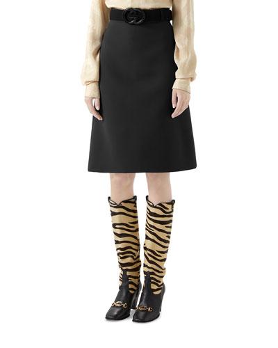 Knee Length Cady Crepe Skirt w/ GG Belt