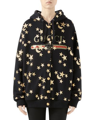 Star-Print Heavy Jersey Sweatshirt with Logo