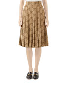 Gucci GG Linen Jacquard Box Pleated Skirt