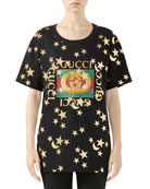Gucci Crewneck Short-Sleeve Cotton T-Shirt with Star Logo