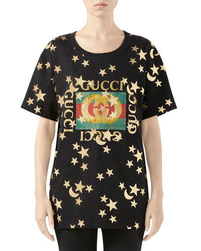 Crewneck Short-Sleeve Cotton T-Shirt with Star Logo