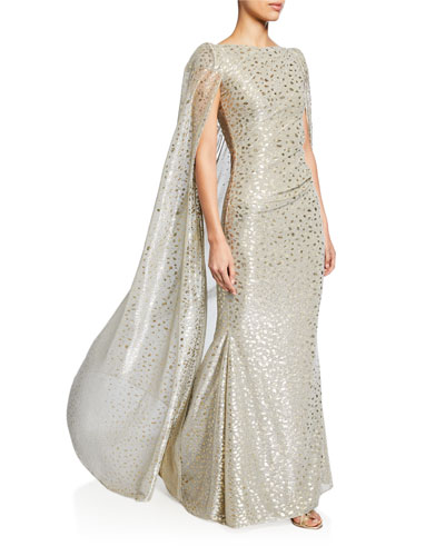 Spotted Shimmer Crepe Cape Gown
