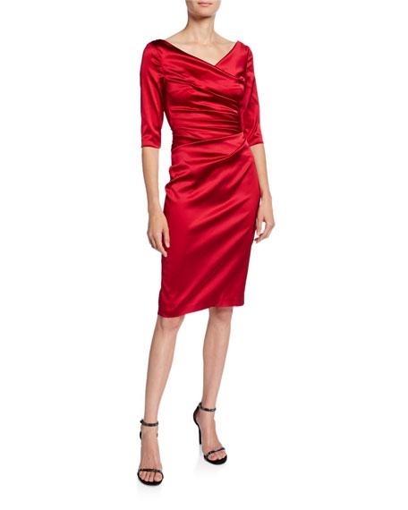 Talbot Runhof Stretch Satin V-Neck Dress