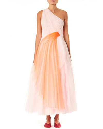 One-Shoulder Draped Tulle Dress