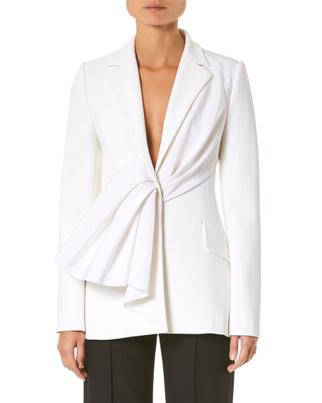 Carolina Herrera Asymmetric Draped Ruched Jacket