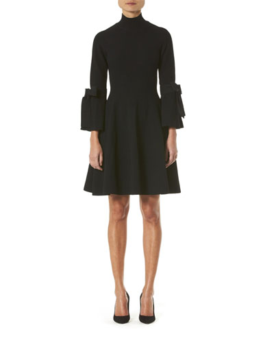 Turtleneck Bell-Sleeve Knit Dress