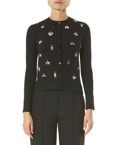 Cashmere-Silk Jeweled Bug Embroidered Cardigan