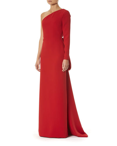 One-Shoulder Draped-Back Silk Gown