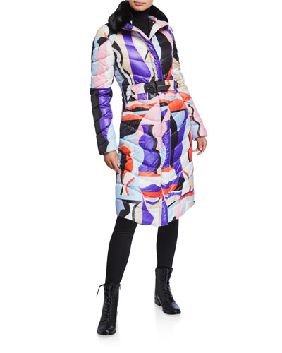 Abstract Print Quilted Coat with Faux Fur Trim
