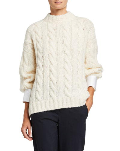 Cable-Knit Sweater with Removable Satin Cuffs