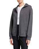 Brunello Cucinelli Felpa Spa Hooded Zip-Front Jacket