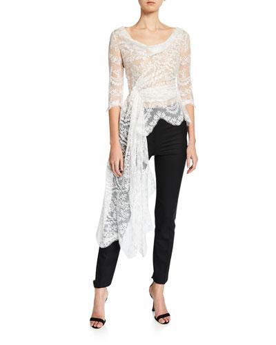 Lace Draped-Front Blouse