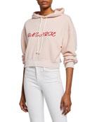 Rodarte Radarte Embroidered Crop Hoodie Sweatshirt