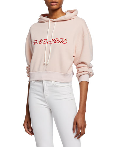Radarte Embroidered Crop Hoodie Sweatshirt