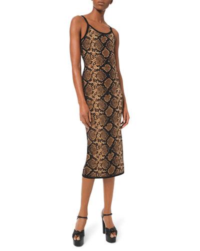 Stretch Metallic Python Slip Dress