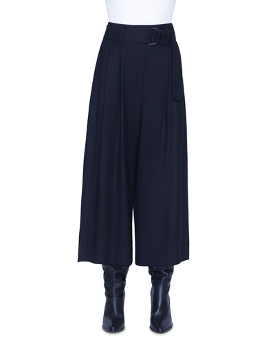 Fiorella Wool Wide-Leg Belted Pants
