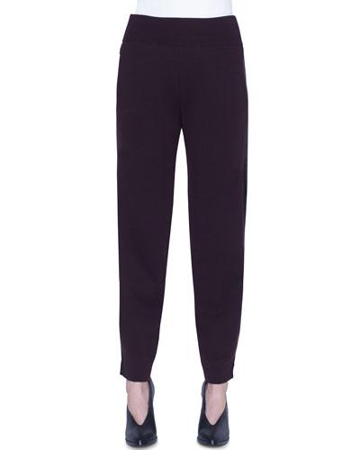 Wool Tuxedo-Striped Ankle Pants