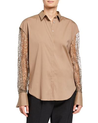 Metallic Lace-Sleeve Button-Down Shirt